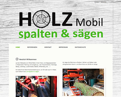 Bild Projekt Webdesign - für Holz Mobil - Lohnspalten & Sägen