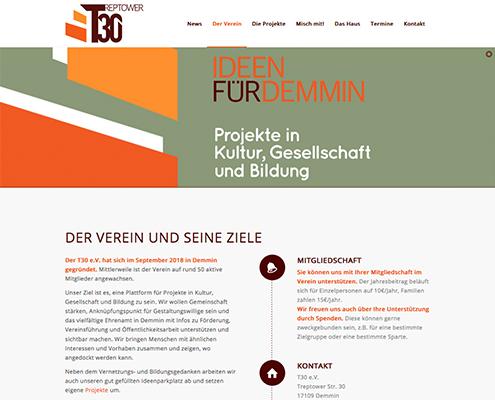 Bild Projekt Webdesign - für den t30 e.v. Demmin